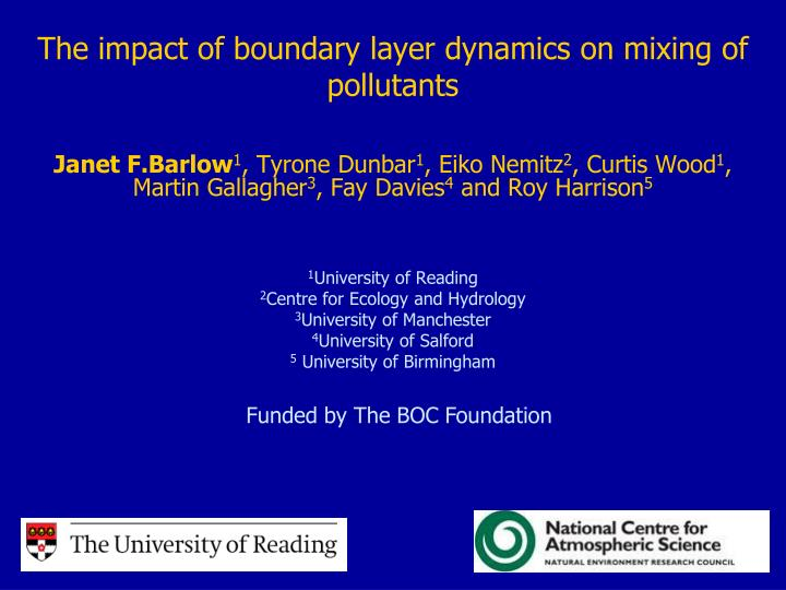 the impact of boundary layer dynamics on mixing of pollutants n.