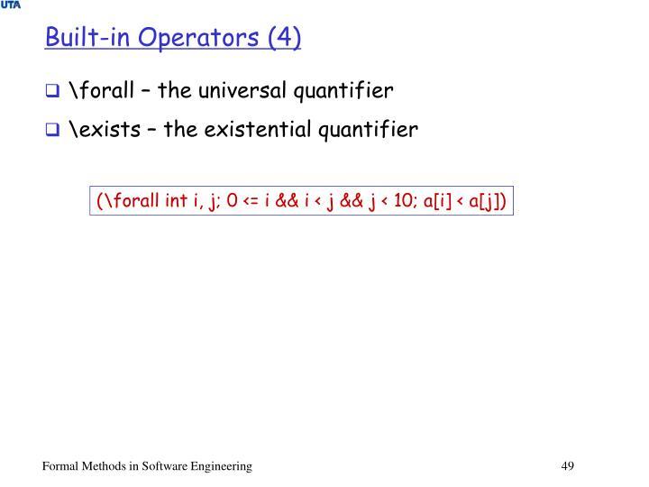 Built-in Operators (4)