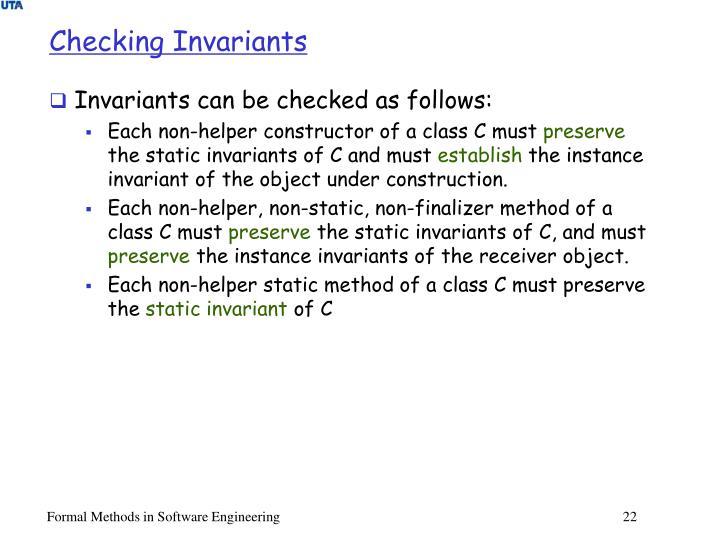 Checking Invariants