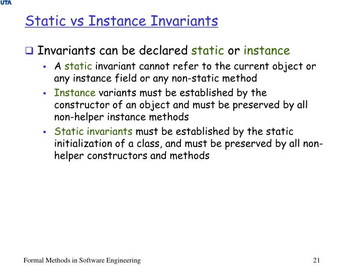 Static vs Instance Invariants