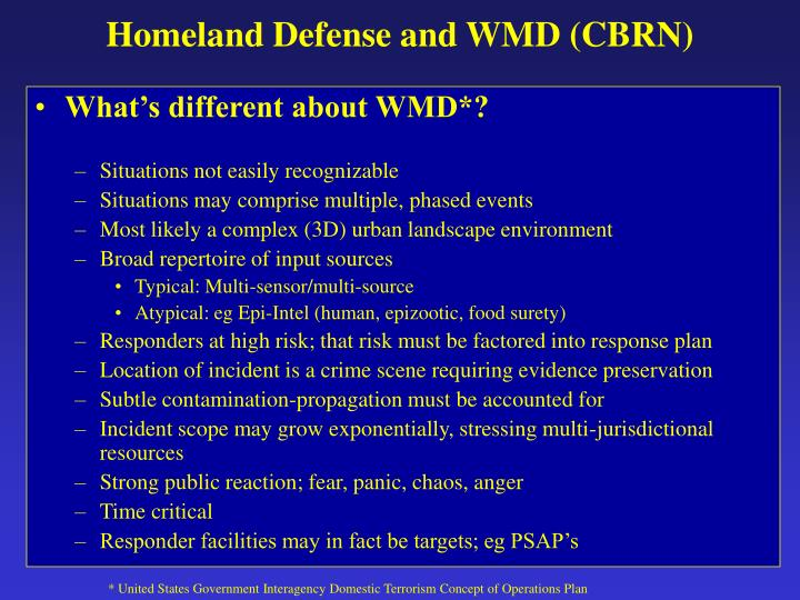 Homeland Defense and WMD (CBRN)