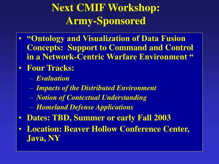 Next CMIF Workshop:
