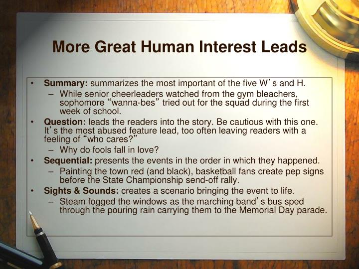 More Great Human Interest Leads
