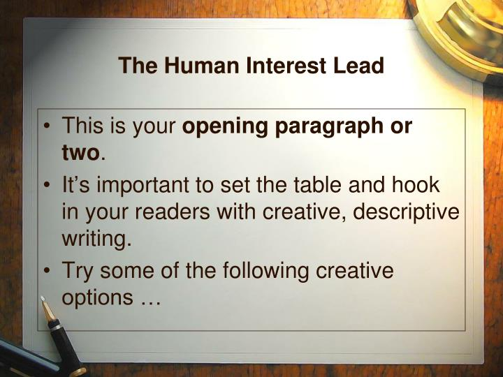 The Human Interest Lead