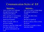communication styles of e i
