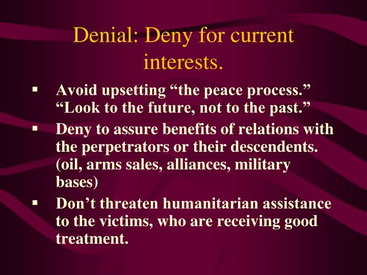 Denial: Deny for current interests.