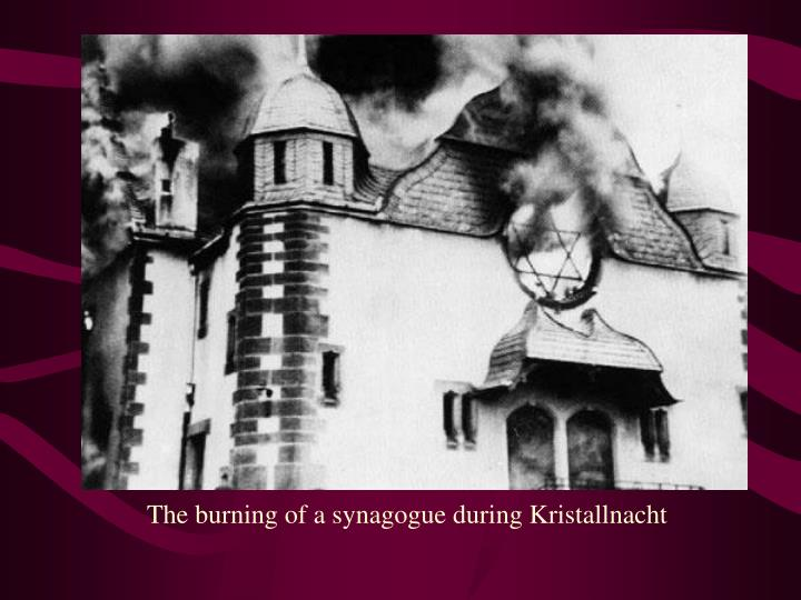 The burning of a synagogue during Kristallnacht