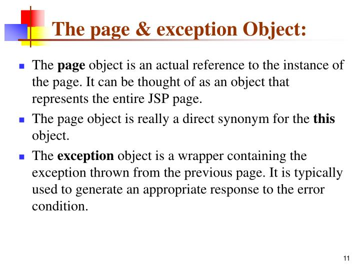 The page & exception Object: