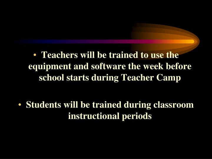 Teachers will be trained to use the equipment and software the week before school starts during Teacher Camp