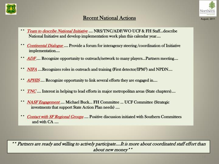 Recent National Actions
