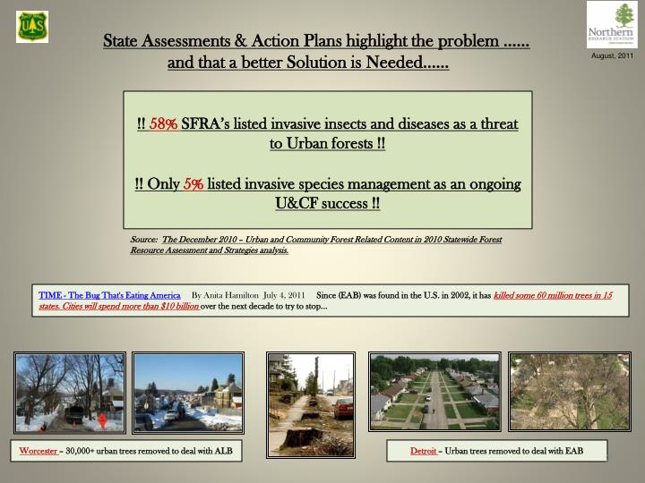 State assessments action plans highlight the problem and that a better solution is needed