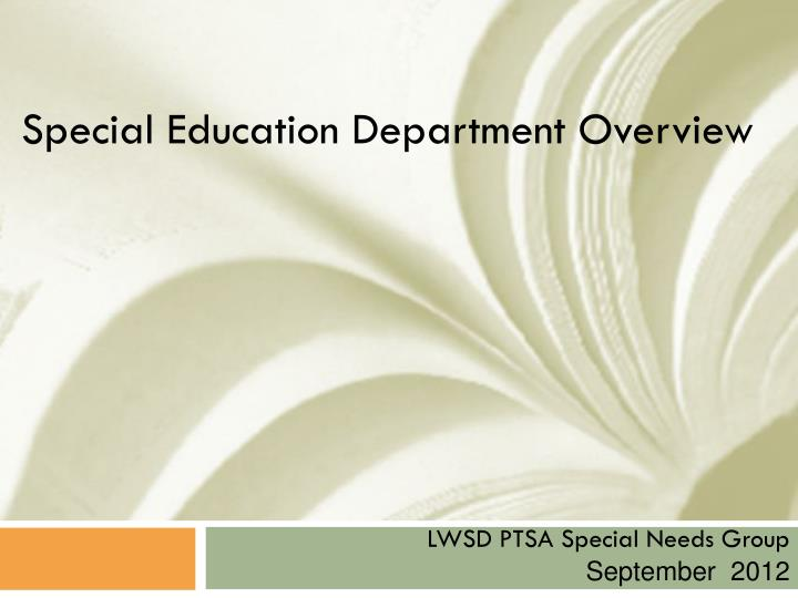 special education department overview n.