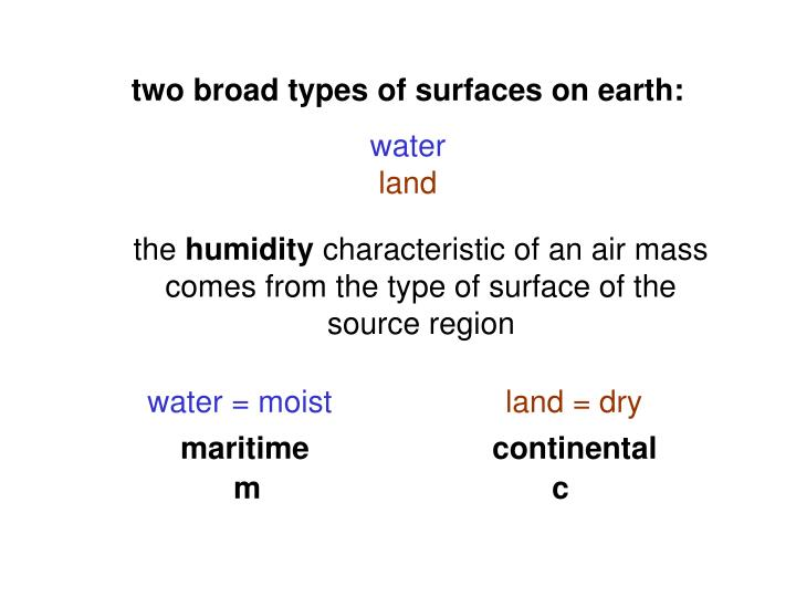 two broad types of surfaces on earth: