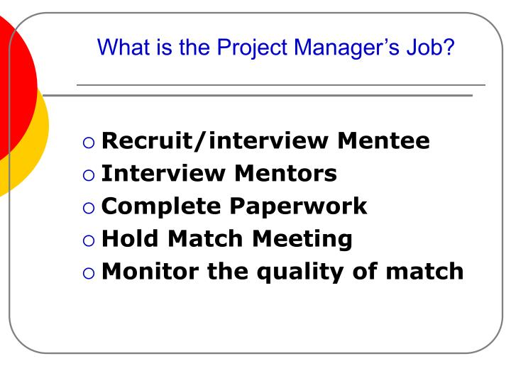 What is the Project Manager's Job?