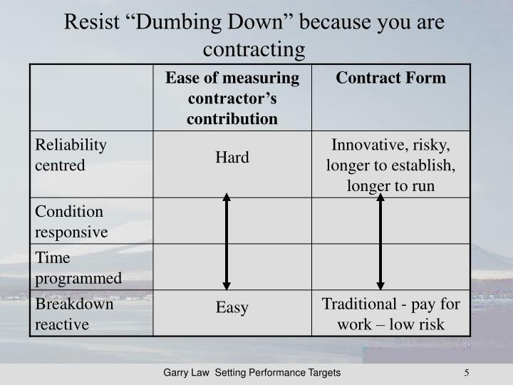 "Resist ""Dumbing Down"" because you are contracting"