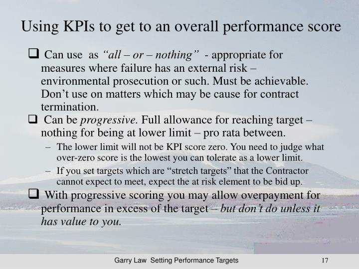 Using KPIs to get to an overall performance score