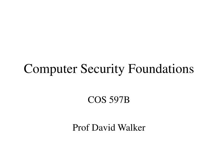 computer security foundations n.
