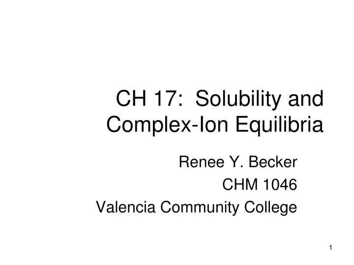Ch 17 solubility and complex ion equilibria