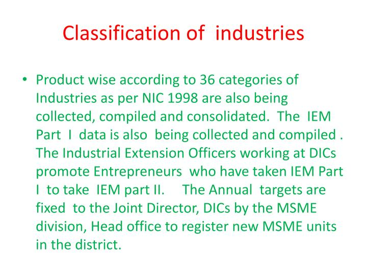 Classification of  industries