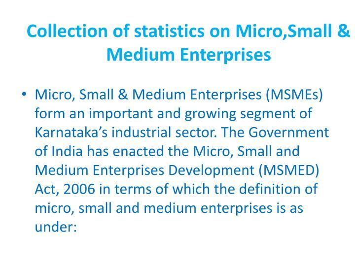 Collection of statistics on micro small medium enterprises