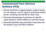 computerized farm advisory software fas
