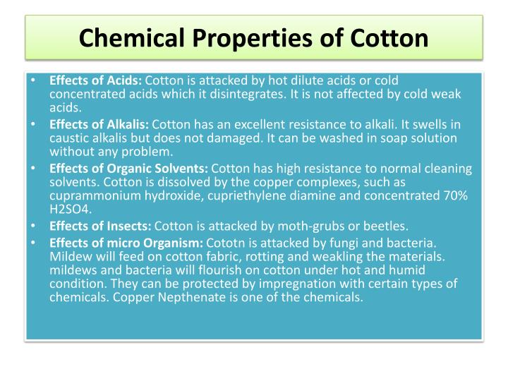 Chemical Properties of Cotton