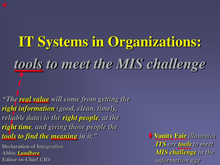 It systems in organizations tools to meet the mis challenge