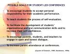 possible goals for student led conferences