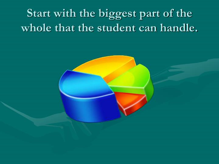 Start with the biggest part of the whole that the student can handle.