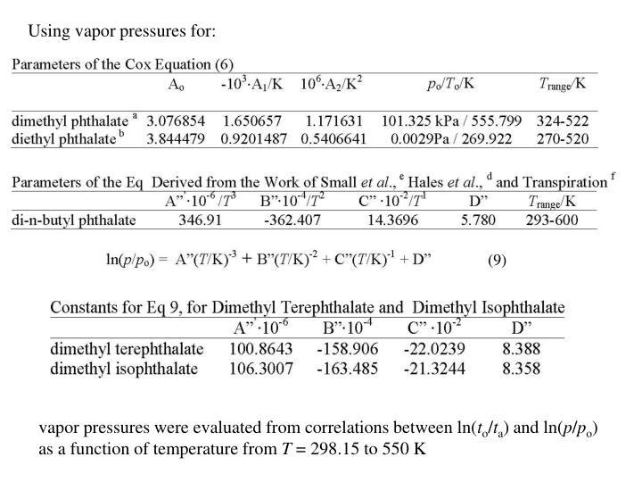 Using vapor pressures for: