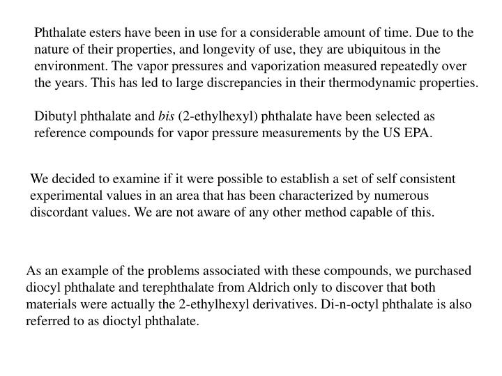 Phthalate esters have been in use for a considerable amount of time. Due to the