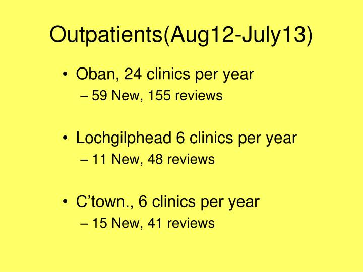 Outpatients(Aug12-July13)