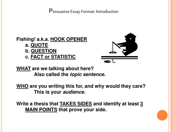 five paragraph persuasive essay powerpoint Characteristics of a persuasive essay: the writer's position on the issue is clearly stated in the thesis statement within the introductory paragraph a series of arguments developed throughout the body paragraphs supported with researched evidence and detail.
