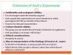 criticisms of asch s experiment