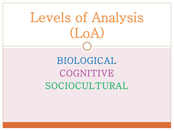 levels of analysis loa n.