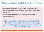 meta analysis in relation to iq tests