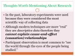 thoughts worth mentioning about research