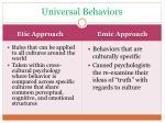 universal behaviors