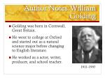 author notes william golding