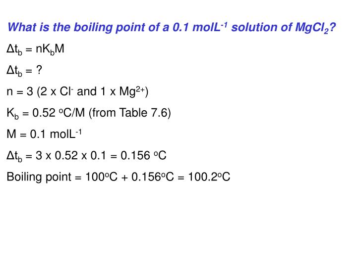 What is the boiling point of a 0.1 molL