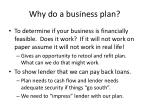 why do a business plan