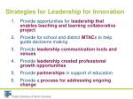 strategies for leadership for innovation