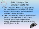 brief history of the mckinney vento act