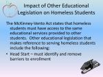 impact of other educational legislation on homeless students