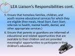 lea liaison s responsibilities cont