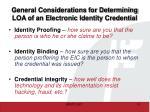general considerations for determining loa of an electronic identity credential