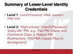summary of lower level identity credentials