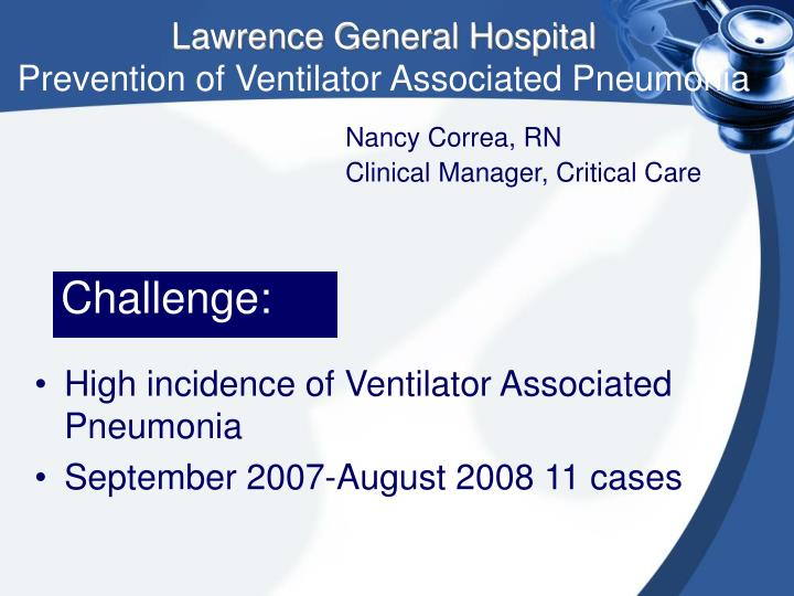 lawrence general hospital prevention of ventilator associated pneumonia n.