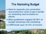 the marketing budget