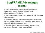 logframe advantages cont